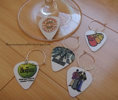 GUITAR PICK WINE CHARMS by greenbeanscrafterole, via Flickr