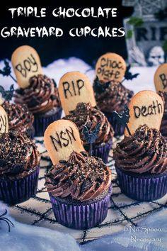 Triple Chocolate Graveyard Cupcakes