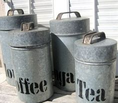 Vintage Galvanized Metal Canister Set, Rustic Kitchen Decor, Country Decor