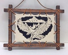 Scroll Saw Patterns :: Native American & Southwestern :: Loose-framed projects :: Loose-framed Nature scene with eagle -