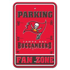 Tampa Bay Buccaneers Sign 12x18 Plastic Fan Zone Parking Style Special Order