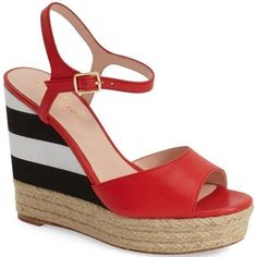 Pre-Owned Kate Spade Deanne Red Striped Wedge Platform Sandals Sz 9... ($152) ❤ liked on Polyvore featuring shoes, sandals, heels, red, platform wedge sandals, platform sandals, wedge sandals, leather platform sandals and platform espadrille sandals
