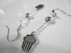 Long Cupcake Charm Earrings