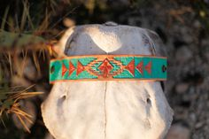 Turquoise & Copper Aztec Hand Tooled Cuff by AllieFalconDesigns