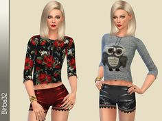 Flowers and owls sweetshirt by Birba32 at TSR via Sims 4 Updates