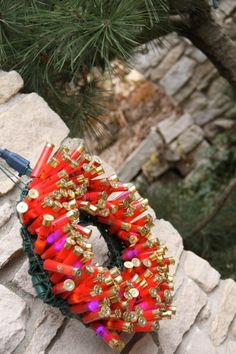 This shotgun shell wreath is smokin' hot!They are an excellent craft, but not for the rookie crafter. Shotgun Shell Wreath, Shotgun Shell Crafts, Shotgun Shells, Christmas Fun, Christmas Wreaths, Christmas Decorations, Xmas, Wire Wreath Frame, Wreaths For Sale
