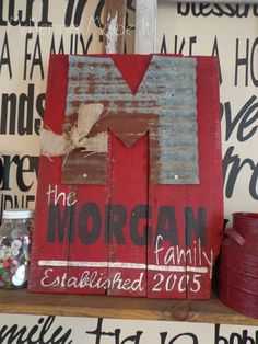 Tin Initial Family Established Pallet Wood Sign! Family Heritage, Rustic Decor, Mom Gift, Grandma Gift, Last Name, Year Established, Door