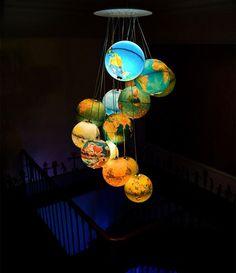 Hur gör man en egen lampskärm lätt? Taklampor, ljuskronor, återvunnet, trapphus, jordglob
