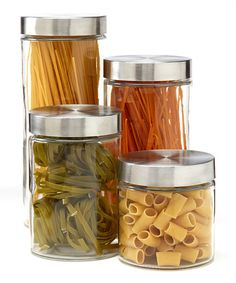 Another great find on Round Four-Piece Canister Set by Anchor Hocking Food Canisters, Storage Canisters, Jar Storage, Food Storage, Storage Containers, Glass Canisters, Kitchen Items, Kitchen Gadgets, Kitchen Stuff