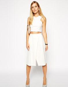 ASOS Midi Skirt with Crossover Front in Scuba color: white size: 1 $57.13