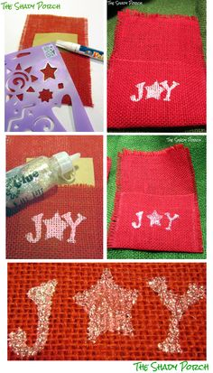 Joyful Burlap Silverware Holders: How-To  ...embellishing with stencil and glitter