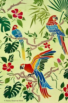 The Tropical Bird Parrot Theme Pack Stencil with tropical and exotic hibiscus and foliage, great for decorative stencil style for walls, furniture, fabrics. Bird Stencil, Stencil Painting, Fabric Painting, Damask Stencil, Faux Painting, Stencil Patterns, Stencil Designs, Tropical Birds, Tropical Leaves
