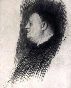 Portrait of a man heading left, Gustav Klimt Medium: pencil,paper Gustav Klimt, Art Klimt, Baumgarten, Vintage Artwork, Portrait Art, Drawing Portraits, Drawing Sketches, Les Oeuvres, Illustration