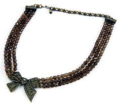 "Vntg Heidi Daus ""Bow Tie Affair"" Necklace Smoky Quartz & Clear Swarovski Crystal"