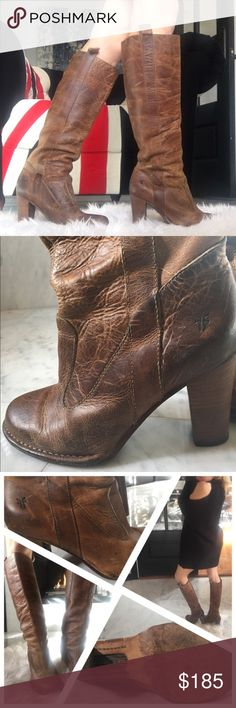 "Frye Villager Boots Camel Leather Size 8 These are authentic Frye Villager Pull-on Leather Boots. Camel Leather has been cared for and is beautifully aged with no obvious stains or scratches. Stacked heel is 3.5"". Entire boot measures 19"" from top to sole. Circumference is 14"". Im 5'3"" and they hit me in a very flattering spot, just below the knee. These boots look amazing with leggings and crop sweater or an oversized sweater dress. Make me an offer and thanks for visiting my closet! Frye…"