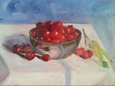 """French cherries are the best - fresh from the tree at Bordeneuve in the Midi-Pyrenees once again. Lovely to be back and painting here again (9x12"""" oil on linen). (c) Rebecca Stebbins"""