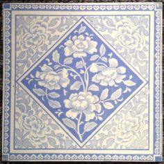 Victorian tile - blue and white floral Front Garden Entrance, Victorian Tiles, Hand Painted, Painted Tiles, Delft, Floral, Blue And White, Rugs, Turquoise