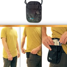Amazon.com | Travel Wallet RFID Safe Pouch - As Neck Stash Or Hidden Waist Belt Stash (Black) | Passport Wallets