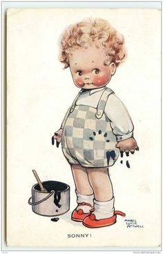 Mable Lucie Attwell postcard, Boy with spilled paint, Valentines in Collectibles, Postcards, Artist Signed Vintage Children's Books, Vintage Postcards, Vintage Kids, Vintage Pictures, Vintage Images, Cute Illustration, Retro, Vintage Prints, Cute Art