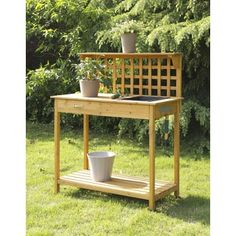 Lattice Potting Bench in Light Oak Finish - Convenience Concepts Lattice Potting Bench a spacious work top surface for any garden task. It provides a durable sink to make potting plants easy and to help keep workspace tidy. Featuring a drawer t Potting Bench With Sink, Potting Tables, Outdoor Garden Sink, Outdoor Decor, Outdoor Spaces, Outdoor Living, Outdoor Crafts, Outdoor Sheds, Garden Table