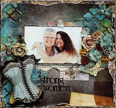 Scraps of Darkness scrapbook kits: Perfectly Stunning kit - mixed media breast cancer survivors layout by Laura Gilhuly.  www.scrapsofdarkness.com