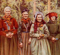 Danish Peasant Costumes 1940's Original Antique Color Print
