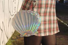 bags - bolsa metalizada - bolsa de sereia - mermaid bag - bolsa de concha holográfica