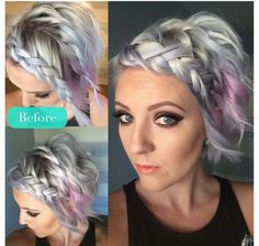 Pixie with front braids Pixie Hairstyles, Pretty Hairstyles, Braided Hairstyles, Pixie Updo, Love Hair, Great Hair, Short Hair Cuts, Short Hair Styles, Front Braids