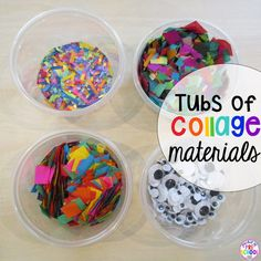 Mkae collage materials to last the whole school year. My favorite craft project trick for my preschool classroom! Preschool Decor, Preschool Classroom, Art Classroom, Classroom Organization, Future Classroom, Classroom Management, Classroom Ideas, Kindergarten, Art Cabinet