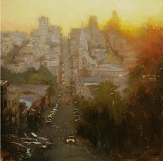 Hsin-Yao Tseng is painter who is in love with the city of San Francisco. Take a look at his amazing paintings. Hsin-Yao Tseng is - Art - Check out: San Francisco by Hsin-Yao Tseng on Barnorama Urban Painting, Light Painting, Painting & Drawing, Landscape Artwork, Urban Landscape, Watercolor Architecture, Photo D Art, Amazing Paintings, Nocturne