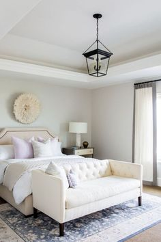 An elegant neutral master bedroom design with a white, beige and gray color palette with touches of pale pink and blue - Chic Home Decorating Ideas & Decor Small Couch In Bedroom, Small Sofa, Home Bedroom, Bedroom Furniture, Master Bedroom, Bedroom Decor, Furniture Design, End Of Bed Sofa, End Of Bed Seating
