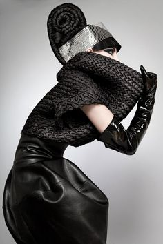 Sculptural Fashion - black leather dress with manipulated fabric textures & exaggerated silhouette // Samantha Cole