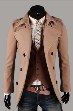 #wool #coat #brown #checkered #leather #belt