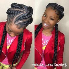 FEED IN BRAIDS: 21 Cool & Creative Cornrow Hairstyles To Try - # big cornrows Braids # feed in cornrows Braids # big Braids french 4 Feed In Braids, Feed In Braids Hairstyles, Braided Hairstyles For Black Women, African Hairstyles, Girl Hairstyles, Goddess Hairstyles, 2 Big Braids, Teenage Hairstyles, Hairstyles 2018