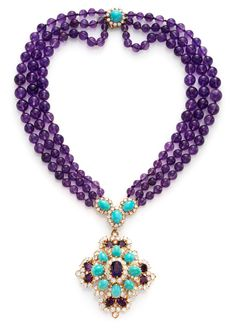 Van Cleef & Arpels An Amethyst Bead, Turquoise and Diamond Necklace