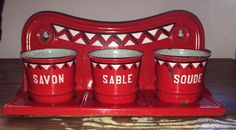 Vintage French Enamel Laundry Rack ~ 3 Cups ~ Art Deco RED, WHITE & BLACK Design