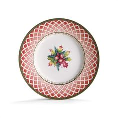 'Winter Holiday' Rose Wreath SALAD PLATE  features a pale rose lattice band with holly spring on a white center - this is one of four styles of Christmas China Salad Plates available in the Winter Holiday Collection. Combine these holiday salad plates with a 'mix and match' feel to create a unique and visually stunning holiday tablesetting! DIMENSIONS: Diameter: 9.25IN MATERIAL: Bone China
