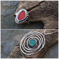 Beautiful rare red sea glass and deep teal green #seaglass #seaglassjewelry…