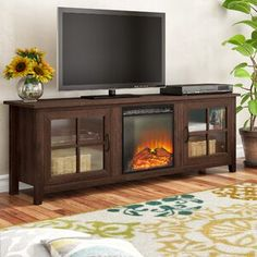 Charlton Home Murphey TV Stand for TVs up to 78 inches with Electric Fireplace Included Color: Gray Wash Fireplace Fronts, 5 Piece Dining Set, Oak Color, Reclaimed Barn Wood, Transitional Style, Counter Stools, Bar Counter, Adjustable Shelving, Tvs