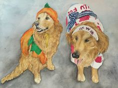 Halloween dogs, done in watercolor