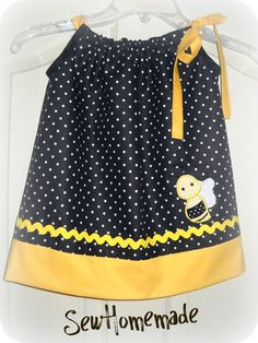 BUMBLE BEE DRESS Infant Toddler Pillowcase Dress by soohomemade, $25.00