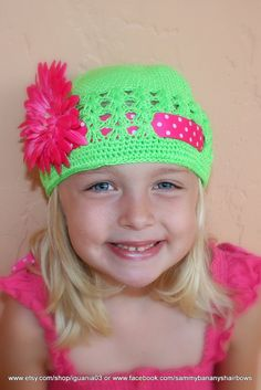 Lime Green Crochet Ribbon Beanie Hat with Hot Pink Flower and ribbon.  Make the hat cute with ribbon threaded through.  Makes the hat more versatile.