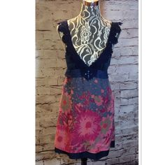 FREE PEOPLE BOHO DRESS Beautiful mixture of textures and Colors with a low neckline and crochet lace straps. See last pic because it has a few minor issues. But the most noticeable one is on the bottom front. Side zip Free People Dresses