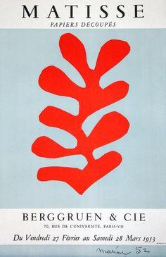 affiche : papiers découpés, Henri Matisse, artiste français, Galerie Berggruen, 1953, rouge pâle, vermillon, forme organique