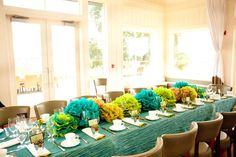 turquoise for baby shower | Real Baby Shower: Teal and Green Tissue Pom Masterpiece | Baby ...