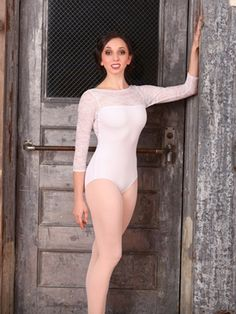"Long Sleeve ""Grace Kelly"" Lace Leotard by SUFFOLK (front)  This would be nicer in black or maroon."