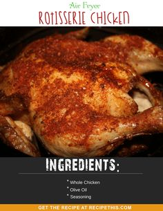 The most delicious way to enjoy chicken in the air fryer is to make your own homemade rotisserie chicken. This Air Fryer Rotisserie Chicken is crispy, moist and full of amazing flavours. Ways To Cook Chicken, Oven Chicken Recipes, Air Frier Recipes, Pots, Air Fryer Recipes Easy, Slow, Lunch Recipes, Kid Recipes, Delicious Recipes
