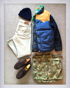 Today's Outfit. #RRL Reversible Down Vest #Lee Storm Rider #PeterBlance Shaggy Dog Sweater #Inverallan Wool Knit Cap #RRL Slim Fit Twill Pants #RRL 2Way Canvas Back Pack #Paraboot...