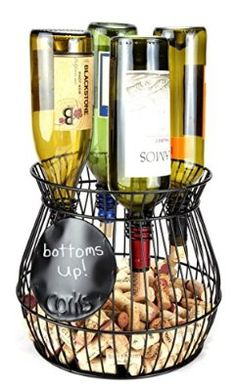 """""""Chalkboard """" Write A Note, Wine Corks Saving Cage Holds 4 Wine Bottles. By Home-X"""