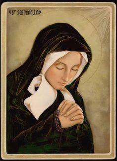 Saint Bernadette, Hand painted icon, Catholic icon, Catholic art, Made to order Religious Images, Religious Icons, Religious Art, Catholic Art, Catholic Saints, Santa Bernadette, St Bernadette Soubirous, La Salette, Paint Icon